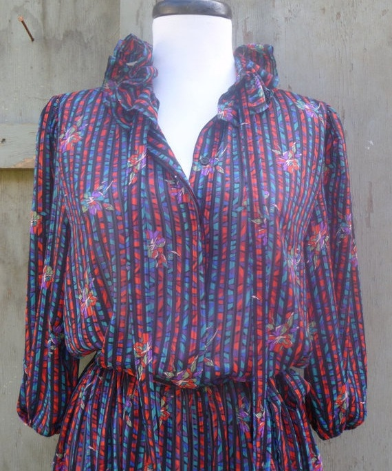 1980s Printed Tie Neck Dress