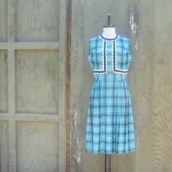 1960s Plaid Day Dress in Turquoise and Black