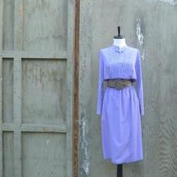 1970s Liillie Rubin Dress Lavender with Pintuck detail