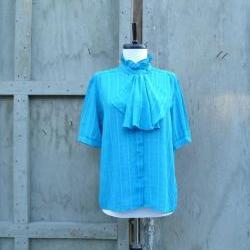 1970s Blouse Teal Ruffle Neck Button Front