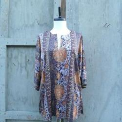 1970s Shirt Ethnic Printed Oversized Batwing