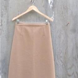 1960s Skirt Tan Wool A line Midi