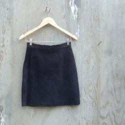 Vintage Sueded Leather Skirt- Black Mini